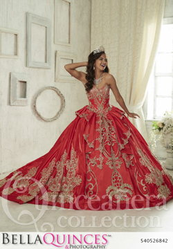 26842 red gold quinceanera collection bellaquinces photography