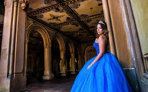 Quinces photography in New York blue dress Bella Quinces