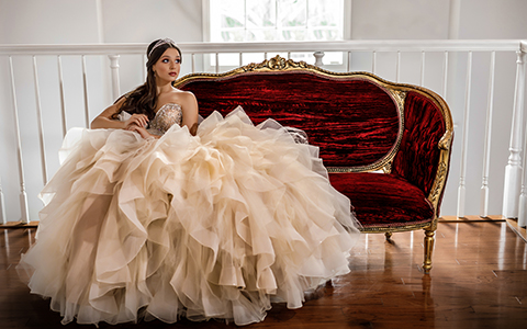 Quinceanera photography with white dress, Morilee