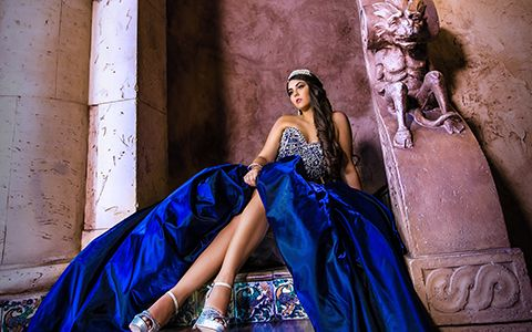 Quinces Photography themes in Cruz Building blue dress