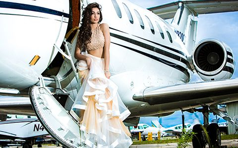 Bella Quinces Photography in Miami, Quinceanera photography air plane