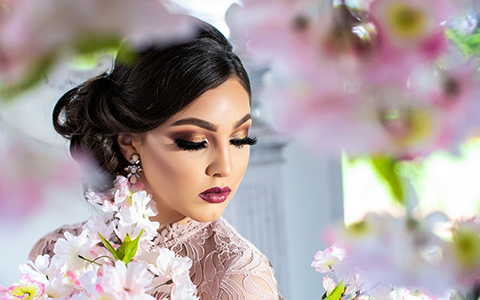 Quinceanera photography with blossom flowers on Villa Blanca