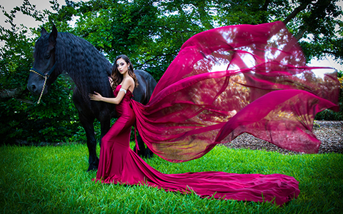 Quinceanera photography with horse in Villa Blanca