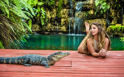 Quinceanera photography with crocodile in Miami