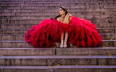 Sweet Sixteen photography in New York red dress Bella Quinces